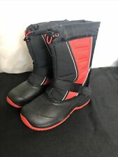 QUEST Boys Arctic Blast Black Red Tall Snow Boots with Thinsulate Size 2 EUC