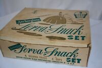 Anchor Hocking Anchorglass Serva-Snack Set 4 Glass Serving Trays w/ Cups Bubbles
