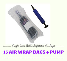 15 x INFLATABLE AIR PACKAGING BUBBLE PACK WRAP BAG FOR WINE BOTTLE WITH PUMP