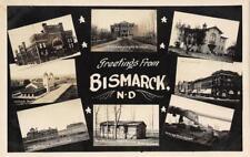 RPPC BISMARCK, ND Northern Pacific Railroad Depot Bridge c1910s Vintage Postcard