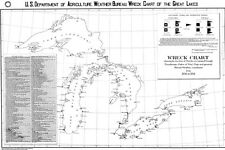 1891 Nautical Map Chart of Ship Wrecks in the Great Lakes Region