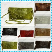 Italian Real Genuine Suede Leather Croc Envelope Clutch Party Messenger Bag