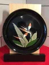 "Vintage Otagiri Bird of Paradise Lacquerware Large Decorative Plate 11-7/8"""
