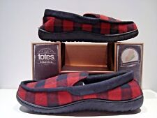 New Totes Toasties Mens Size Md 8-9 Plaid Flannel Memory Foam Slippers