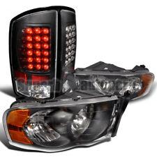 2002-2005 Dodge Ram Black Crystal Headlights+LED Tail Brake Lights