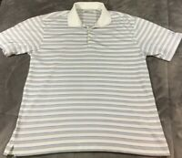 Nike Golf Fit Dry Short Sleeve Polo Shirt Mens Size L White Blue Striped Mesh