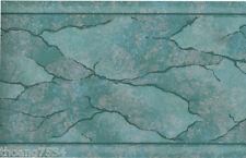 Metallic Patina Aqua Blue Marble Vein Crack Water Abstract Wall paper Border