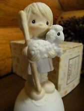 Precious Moments~Bell~We Have Seen His Star~No mark~E5620~Shepherd Holding Lamb