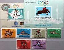 ROMANIA RUMÄNIEN 1972 3012-17 Block 93-4 2321-26 C186 Olympics München Sport MNH