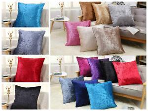 "Crushed Velvet Cushions FILLED Cushion Pad Cover Luxury Large Plain 18"" 24"""