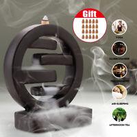 Black Round Backflow Porcelain Ceramic Cone Incense Burner Holder Gift+20 Cones