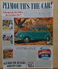 1938 magazine ad for Plymouth - 1939 Roadking model in autumn scene, features