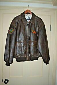 Vintage Lg Aerosmith Schmooze Avirex Leather Bomber Jacket Flight Map Liner 1985