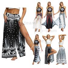 Floral Print Wide Leg Yoga Harem Pants Palazzo Bohemia Slit Beach Trousers Wrap