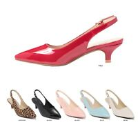 Women Point Toe Slingback Kitten Heel Shoes Pump Sandals Size 5.5 - 10