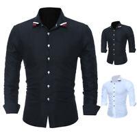 Luxury Business Casual Shirts Men Slim Fit Formal T-shirt Long Sleeve Dress Tops
