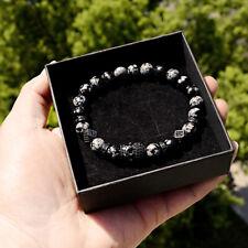 Men's Luxury 24k Micro Pave CZ Ball Crown Tiger Eye&Snow Stone Bracelets Gift