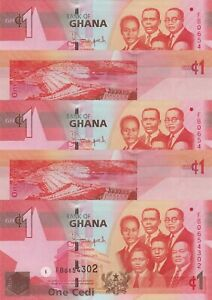 LOT, Ghana 1 Cedi (06.3.2013) p37d x 5 PCS UNC
