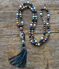 Long Druzy Beaded Tassel Dalmatian Jasper Necklace Jade Boho Beads Geode Blue