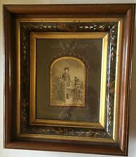 Antique Picture Photo Frame Deep Walnut Wood Inlay Cabinet Card Photo Vintage
