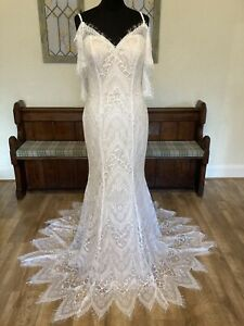 Ex Sample Nude Ivory Lace Off Shoulder Art Deco Trumpet Wedding Dress Gown 16