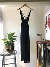 Sweewe Paris Dress Black Formal Deep V Neck Strappy Semi Sheer Lined Side Zip