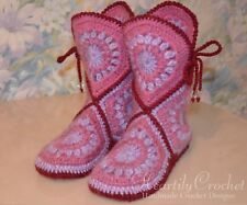 Women crochet slipper boots, handmade house shoes, knit wool slippers, booties