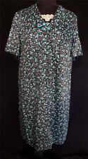 PLUS SIZE VINTAGE FRENCH 1960'S RAYON TAUPE , TURQUOISE, BLACK & GREEN DRESS