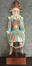"""Vintage Folk Art Court Jester Clown Hand Painted Wood Sculpture 20.5"""" Tall"""