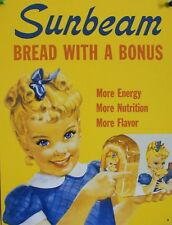 "TIN SIGN ""Sunbeam Bread with a Bonus""  Food Art Deco Garage Wall Decor"