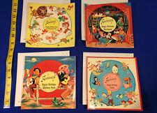 VINTAGE Lot - (4) 1958 Musical Singing Postcard Record- Children's Music Kids