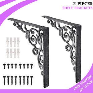 2PCS Cast Iron Shelf Brackets Vintage Pattern Bracket DIY Decoration Industrial