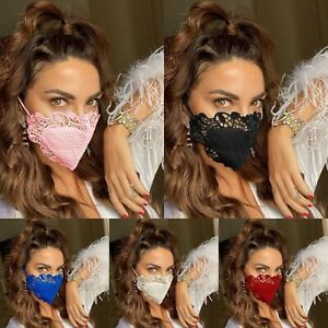 Women sequin pearl Lace Applique Reusable face mask party weeding Funarel gifts
