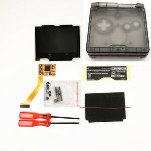 Clear Black Shell Cover w/ 5 Levels Brightness IPS Backlight LCD Mod FOR GBA SP