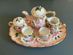 Childs Tea Set 10-pc Ceramic Oval Tray Pink Roses Basket Weave Thailand 6.5 wide