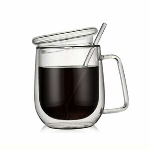 Heat Resistant Drinking Cup With Lid And Spoon Double Glazing Glass Coffee Mug