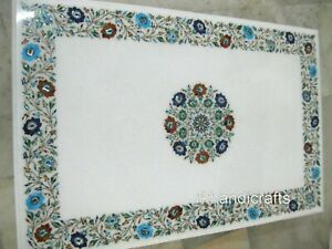 30 x 48 Inch Marble Center Table Top Stone Coffee Table with Inlay Art at Border