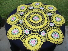 """36"""" TABLE CLOTH COVER HAND CROCHET LACE YELLOW WITH PINK & GREEN FLOWERS"""