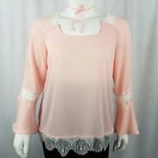 NY Collection Women's Blouse XL Bell Sleeves and Lace Trim Peach