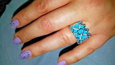 14 KT White Gold ring with turquoise and diamonds