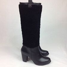 UGG AVA EXPOSED FUR TALL BOOTS BLACK SUEDE HIGH HEEL KNEE HIGH SIZE US 6