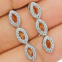 2CT Padparadscha Sapphire & Topaz 925 Solid Sterling Silver Earring Jewelry, X1