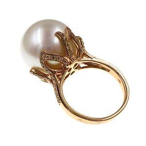 Incredible Quality 14k Rose Gold 17.3mm Jumbo White Pearl & Diamond Ring Size 6