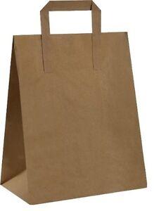 PAPER CARRIER BAGS BROWN KRAFT SOS TAKEAWAY SCHOOL FOOD LUNCH PARTY WITH HANDLES