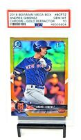 2018 Chrome GOLD REFRACTOR RC Mets ANDRES GIMENEZ Rookie Card /50 PSA 10 - Pop 4