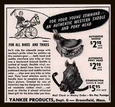 1955 B AD  YANKEE PRODUCTS BIKES TRIKES AUTHENTIC SADDLE HORSE HEAD COWBOY