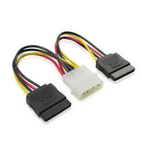 4Pin IDE Molex to 2 Serial ATA SATA Splitter Hard Drive Power Adaptor Cable New