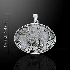 Howling Wolf Crescent Moon Stars .925 Sterling Silver Pendant by Peter Stone