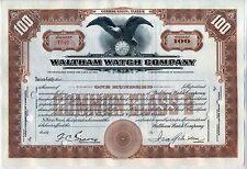 Waltham Watch Company Stock Certificate Massachusetts
