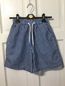 Mens / Boys XS See Measurements Blue And White Check Swim Shorts Never Worn